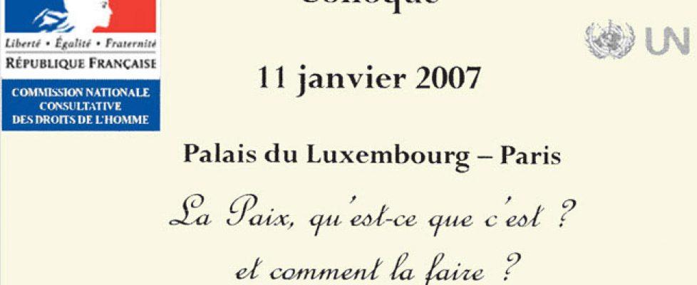 Colloque pour la paix 11 janvier 2007