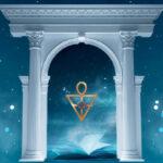 Portail et livre ouvert avec en son centre un triangle, orné d'une rose-croix, symbole de l'Ancien et Mystique Ordre de la Rose-Croix
