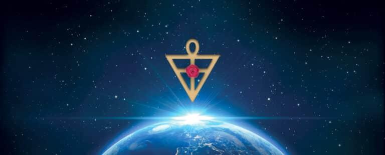 Symbole rosicrucien au dessus de la Terre